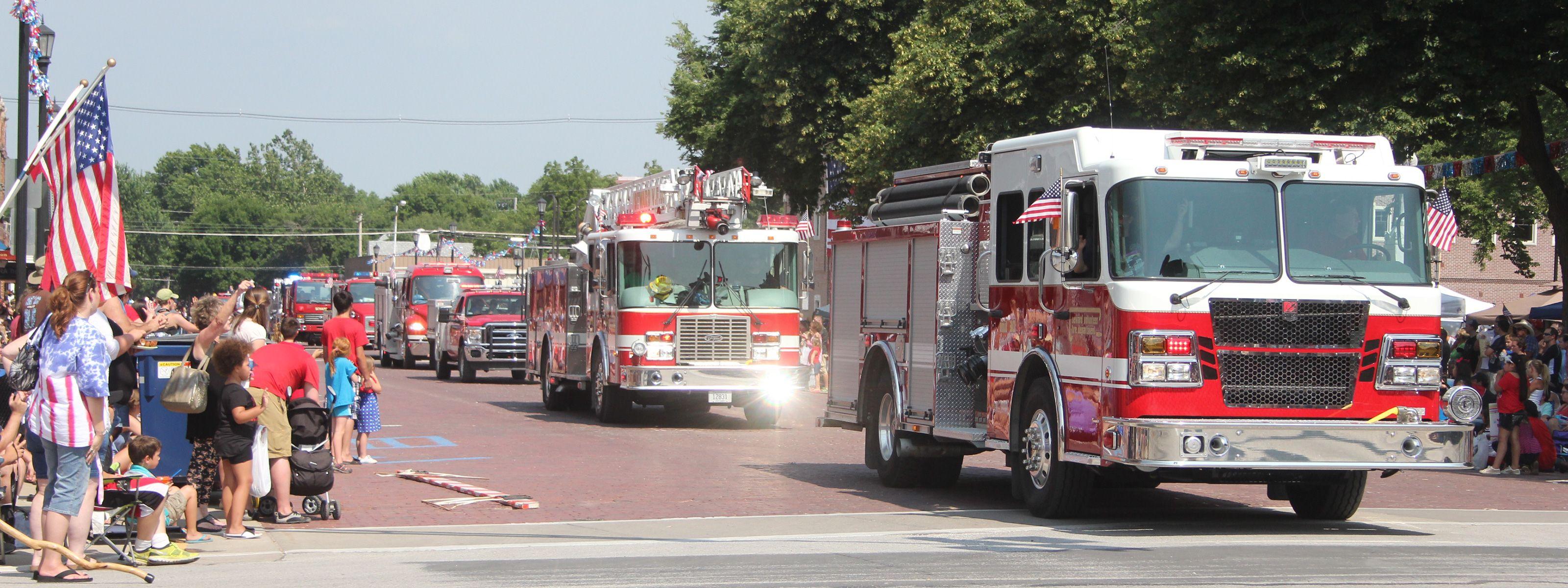 Fire trucks in the July 4th grand parade in Seward, Nebraska