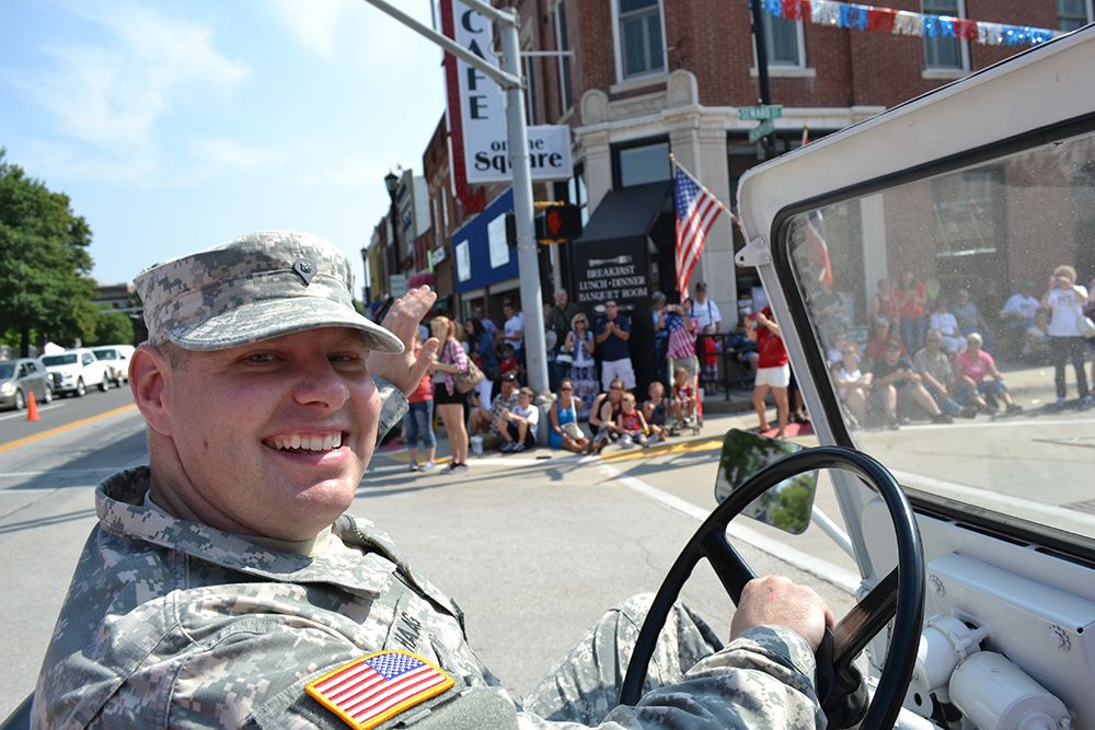 National Guardsman driving in the July 4th parade in Seward, Nebraska